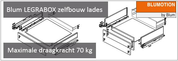 Blum LEGRABOX zelfbouw lade maximale draagkracht 70 kg