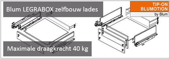 Blum LEGRABOX zelfbouw lade met TIP-ON en BLUMOTION, maximale draagkracht 40 kg